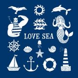 Sea icons cartoon set. With sailor, lighthouse, mermaid, ship and other. Illustrations for your design Royalty Free Stock Photos