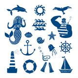Sea icons cartoon set Stock Image
