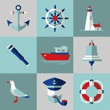 Sea icons in flat style. Set of flat icons in nautical style Royalty Free Stock Photography