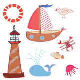 Sea icons funny set Royalty Free Stock Photography