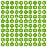 100 sea icons hexagon green. 100 sea icons set in green hexagon isolated vector illustration stock illustration