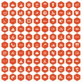 100 sea icons hexagon orange. 100 sea icons set in orange hexagon isolated vector illustration Royalty Free Illustration