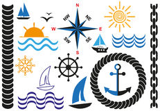 Sea icons. Icons on marine theme with anchor, sea and sun Stock Photo