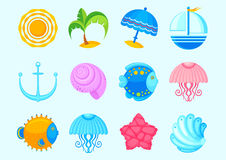 Sea icons Stock Photography