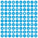 100 sea icons set blue. 100 sea icons set in blue hexagon isolated vector illustration Royalty Free Stock Image