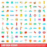 100 sea icons set, cartoon style Royalty Free Stock Images