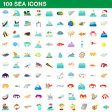 100 sea icons set, cartoon style Royalty Free Stock Photos