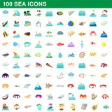 100 sea icons set, cartoon style. 100 sea icons set in cartoon style for any design illustration royalty free illustration