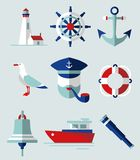 Sea icons. Set of flat icons in nautical style Stock Images
