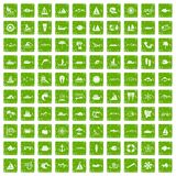 100 sea icons set grunge green. 100 sea icons set in grunge style green color isolated on white background vector illustration Royalty Free Stock Photo