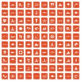 100 sea icons set grunge orange. 100 sea icons set in grunge style orange color isolated on white background vector illustration Royalty Free Stock Photography