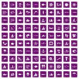 100 sea icons set grunge purple. 100 sea icons set in grunge style purple color isolated on white background vector illustration Stock Illustration