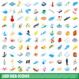 100 sea icons set, isometric 3d style Stock Photos
