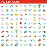 100 sea icons set, isometric 3d style Royalty Free Stock Image