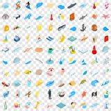 100 sea icons set, isometric 3d style. 100 sea icons set in isometric 3d style for any design vector illustration Royalty Free Stock Photos