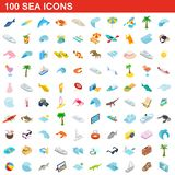 100 sea icons set, isometric 3d style. 100 sea icons set in isometric 3d style for any design illustration royalty free illustration