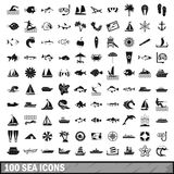 100 sea icons set in simple style Royalty Free Stock Photo