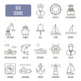 Sea icons. Set of vector pictogram Royalty Free Stock Photos
