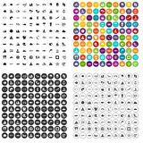 100 sea icons set vector variant. 100 sea icons set vector in 4 variant for any web design isolated on white stock illustration