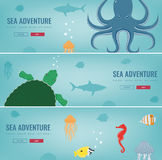Sea icons and symbols set. Sea animals. Nautical design elements. Concept website template. Vector Stock Images