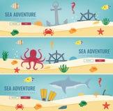 Sea icons and symbols set. Sea animals. Nautical design elements. Concept website template. Vector Stock Photo