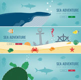 Sea icons and symbols set. Sea animals. Nautical design elements. Concept website template. Vector Royalty Free Stock Photography