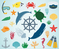 Sea icons and symbols set. Sea animals. Nautical design elements. Vector Royalty Free Stock Images