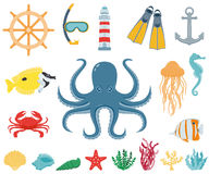 Sea icons and symbols set. Sea animals. Nautical design elements. Vector Royalty Free Stock Photography