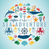 Sea icons and symbols set. Sea animals. Nautical design elements. Vector Stock Image