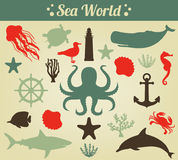 Sea icons and symbols set. Sea animals. Nautical design elements. Vector Stock Photo