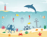 Sea icons and symbols set. Sea animals. Nautical design elements. Vector Stock Photography