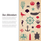 Sea icons and symbols set. Sea animals. Nautical design elements. Vector Royalty Free Stock Photos