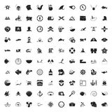 Sea 100 icons universal set for web and mobile flat Stock Images