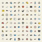 Sea 100 icons universal set for web and mobile flat Stock Photos