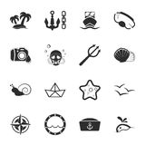 Sea 16 icons universal set for web and mobile. Flat Royalty Free Illustration