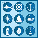 Sea icons vector set. Silhouettes for logo and templates Stock Image