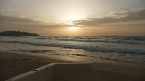 The sea is illuminated at dawn Stock Photos
