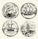 Sea illustration retro style. Isolated vector illustration. Sea illustration retro style. Old gravure style. Ink and pen artwork vector illustration