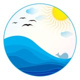 sea illustration - summer logo royalty free stock photo