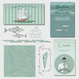 Sea illustrations. Sea graphic illustrations with elements royalty free illustration
