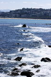 Sea impacting on breakwater Royalty Free Stock Images
