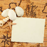 Sea impression. Copy space for your photo on a Sea chart with sailing ship on the order of antiquities Royalty Free Stock Image