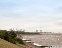 Sea industry cargo and shipping cranes in the distance beach gro. Ynes Harwich Port; England; UK Stock Photo