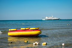 Sea inflatable attractions. Vacation and active rest stock photography