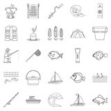 Sea inhabitant icons set, outline style. Sea inhabitant icons set. Outline set of 25 sea inhabitant vector icons for web isolated on white background Royalty Free Stock Photos