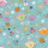 Sea inhabitantes seamless pattern Royalty Free Stock Photography
