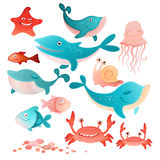 Sea inhabitants set. Vector illustration of a sea inhabitants set Royalty Free Stock Photo