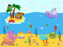 Sea inhabitants and steamship. Octopus, jellyfish, starfish, sea. Horse, reefs and corals in the ocean. Island with palms, parrot and treasure chest. Vector Stock Photography