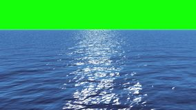 Digital animation of Still blue ocean under green screen sky. Sea inhabitants in transparent ocean water, in the background a green screen stock footage
