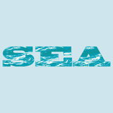 Sea_inscription. Vector image of the word sea with superimposed texture of a calm sea surface on a light blue background Stock Photos